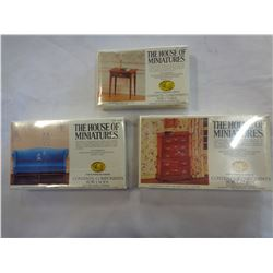 3 HOUSE OF MINIATURES WOODEN MODEL FURNITURE KITS, 40036, 40009 AND 40015