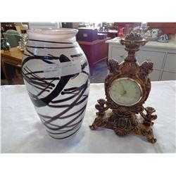 FIGURAL QUARTZ CLOCK AND ART GLASS VASE
