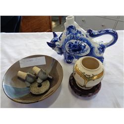 POTTERY AND CARVED JADE ETC