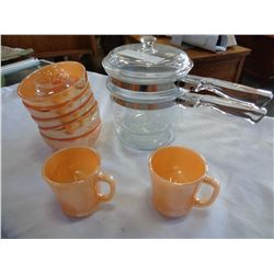 PYREX DOUBLE BROILER, FIRE KING BOWLS, AND MUGS