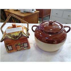 COTTAGE WARE COOKIE JAR AND LIDDED BEAN CROCK