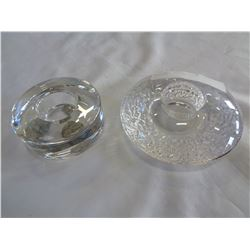 2 SIGNED OREGON GLASS CANDLE HOLDERS