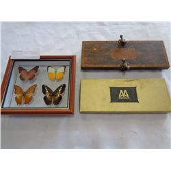 ANTIQUE PRESS FRAMED BUTTERFLY SHADOW BOX ETC