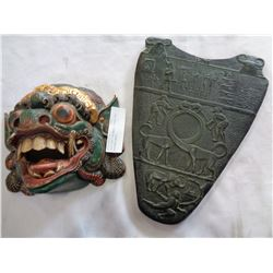EGYPTIAN CHALKWARE PLAQUE AND EASTERN MASK