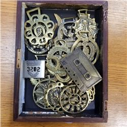 TRAY OF BRASS HORSE MEDALLIONS