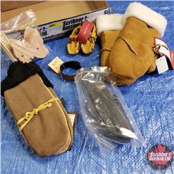 CHOICE OF 4 TRAY LOTS: 2 Pairs Leather Mitts, Baby Moccasins, Knife Sheath Templates, Leather Hair B