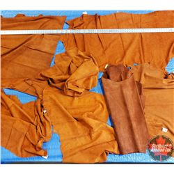 BOX LOT: Variety of Split Leather  (7 Pieces)  Rust/Orange Color