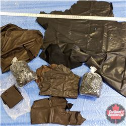 BOX LOT: Variety of 2.5 oz Leather Pieces & 2 Bags of Leather Scraps