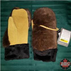 Artisan Handmade Leather Mitts (Beaver)