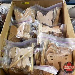 BOX LOT: 26pkgs Leather Hair Butterfly Accessories (10/Pkg) & 2pkgs Leather Hair Bow Accessories (10