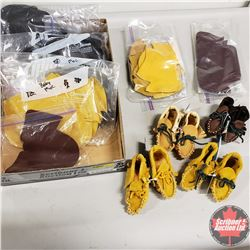Tray Lot: 4 Baby Moccasins Completed & 7 Bags of Baby Moccasin Templates (Variety Patterns)