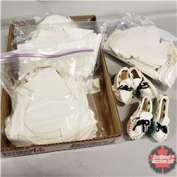 Tray Lot: 4 Bags of White Leather Baby Moccasin Templates & 2 Completed Baby Moccasins