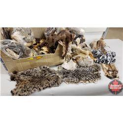 Variety of Small Animal Pelts & Cut offs (Rabbit, Squirrel, Skunk, Possum, Arctic Fox, Raccoon, etc)