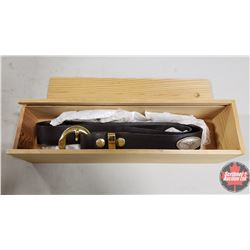 """CHOICE OF 12 Wooden Box / Sliding Lid with Leather Belt/Long Horn Concho (Size 36"""")"""