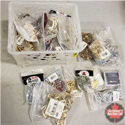 White Plastic Basket/Tote - Fasteners/Hardware: Buckles, Rivets, Crystal Rivets, Yellow Snaps, Stapl
