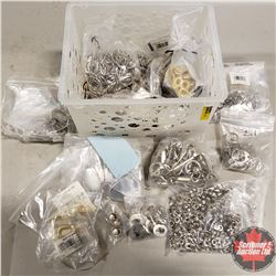 White Plastic Basket/Tote - Fasteners/Hardware: Wire Snaps, Reinforcements, Rings, Buckles, etc