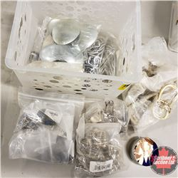 White Plastic Basket/Tote - Fasteners/Hardware: Belt Buckles, Suspender Clamps, Book Darts, etc