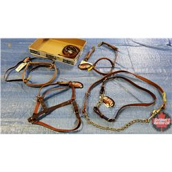 Tray Lot - Weaver Items: Yearling Halter, Headstall, Tiedown, Noseband, Rein 5/8x8, Stud Chain w/Lea