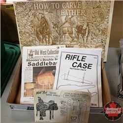 Tray Lot - Cowboy Patterns (Rifle Case, Roper Saddle, Saddle Bag, Animal Carving)