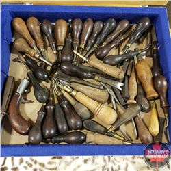Set of Approx. 50 Leather Working Tools circa 1880 Rosewood & Brass C/W Glass Top Display Case