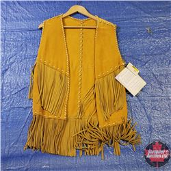 CHOICE OF 16 Long Leather Tasseled Vests : Size Small