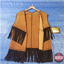 CHOICE OF 16 Long Leather Tasseled Vests : Size Large