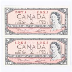 Pair Bank of Canada 1954 2.00 Notes in sequence PR