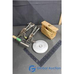 Vintage Hand Mixers, Wooden Buttter Press (Missing Handle)