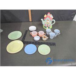 Partial Child's Tea Set and Teddy Bear House Tea Pot