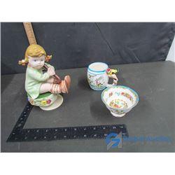 Ceramic Girl Figure Music Box, Royal Albert Bowl and Drinking Cup