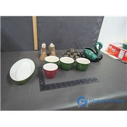 Silver Plate Napkin Fings, Blue Mountain Pottery Ceramic Swan, Child's Moccasins, Bowl & (4) Cups