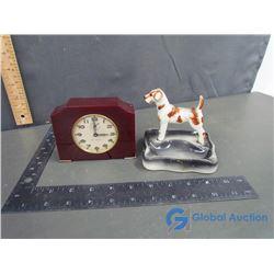 Seth Thomas Bakelite Clock (working) and Ceramic Dog Figure Ashtray