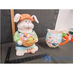 Easter Cookie Jar and Jug