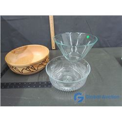 Handmade Wooden Bowl and (2) Large Glass Serving Bowls