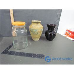 Dark Purple and Pottery Vases and Glass Jar with Wooden Lid