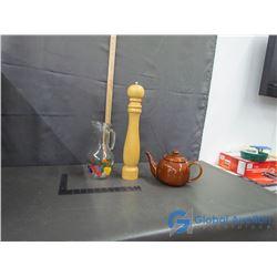 Brown Tea Pot, Glass Juice Pitcher and Large Wood Pepper Grinder