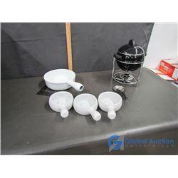 Fondue Pot Set and Onion Soup Bowls