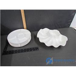 (5) Luncheon Plates and Large Seashell Serving Dish