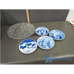 Large Glass Serving Plate and (4) Decorative Plates