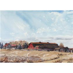 Margaret D. Shelton - RED BARN AND FARM HOUSE