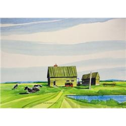 Robert Newton Hurley - UNTITLED; COWS RESTING IN