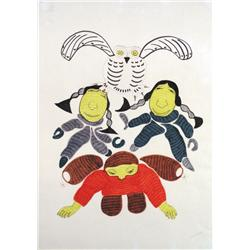 Agnes Nanogak - UNTITLED; THREE FIGURES AND AN OW