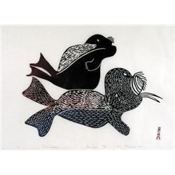 Pitseolak Ashoona - SEAL AND WALRUS
