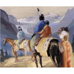 Aleen Aked - UNTITLED; INDIANS ON HORSEBACK