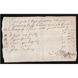 Colonial Document: 1721 Hotel receipt