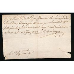 Colonial Document: 1733, de Couagne, First Known Record of Viger Family