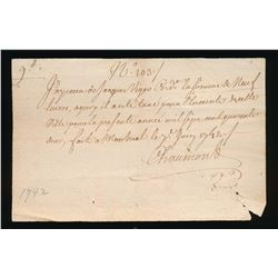 Colonial Document 1742 Viger reference
