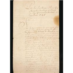 Colonial Document 1773 Vaudreuil