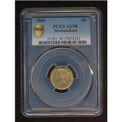 Newfoundland 1865 $2 Gold Coin Certified PCGS AU58
