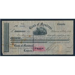 Bank of Montreal Second of Exchange Note to London for 200 pounds 1886
